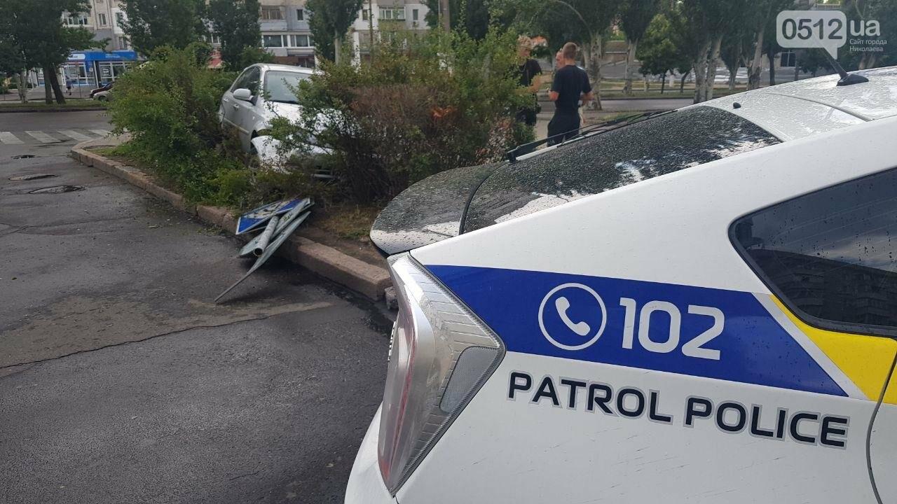 В центре Николаева иномарка, сбив дорожный знак, вылетела на клумбу, - ФОТО, ВИДЕО, фото-2