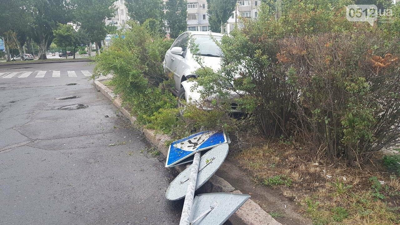 В центре Николаева иномарка, сбив дорожный знак, вылетела на клумбу, - ФОТО, ВИДЕО, фото-5