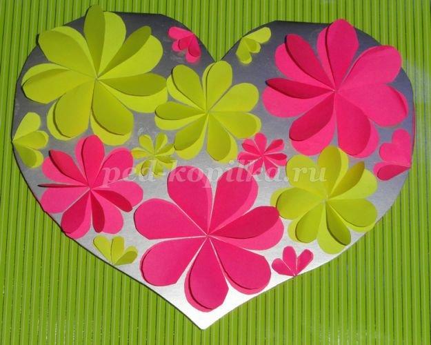 Сердце в виде открытки маме на 8 марта подготовительная группа