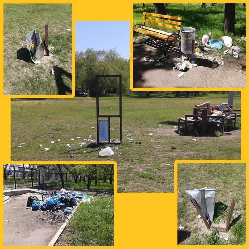 Парк Победы тонет в мусоре после праздников, фото-2