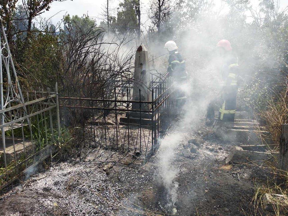 На территории Николаевского некрополя спасатели ликвидируют пожар сухой травы, - ФОТО , фото-6