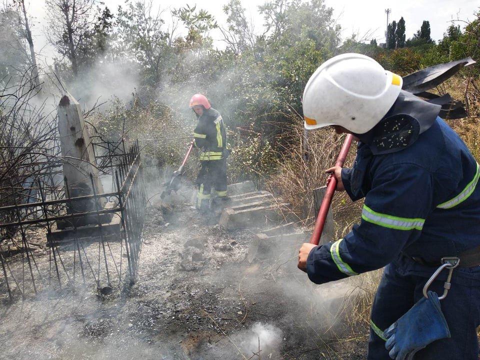 На территории Николаевского некрополя спасатели ликвидируют пожар сухой травы, - ФОТО , фото-5