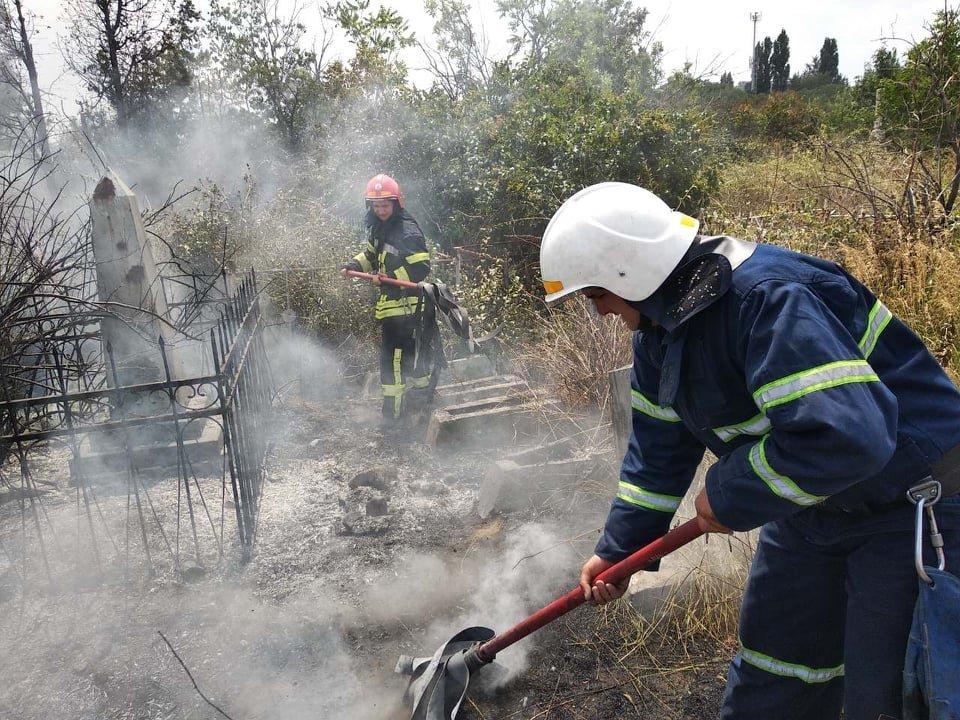 На территории Николаевского некрополя спасатели ликвидируют пожар сухой травы, - ФОТО , фото-4