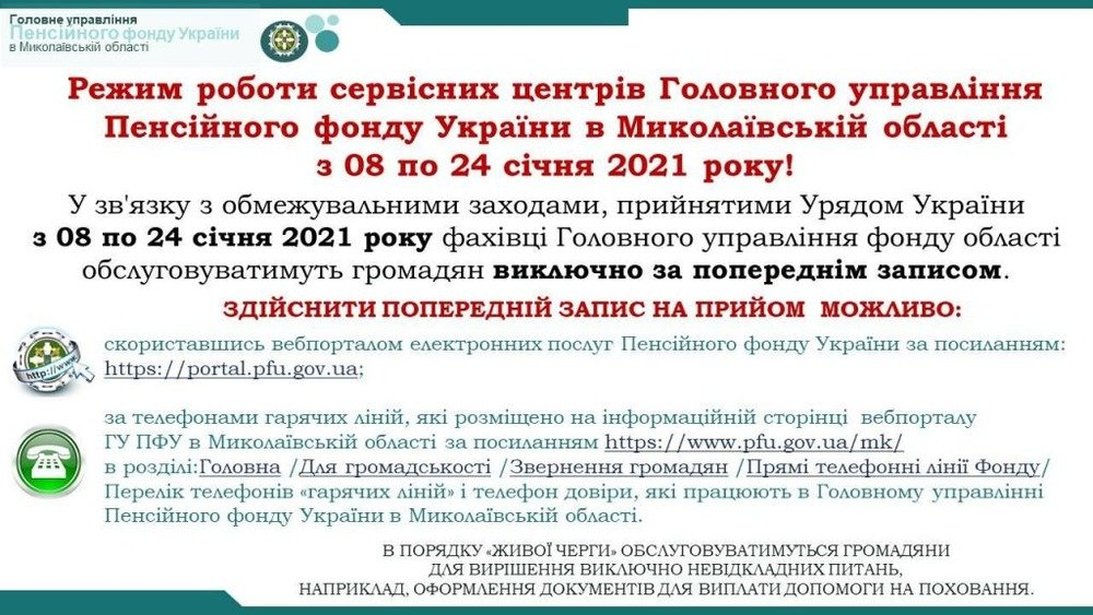 ПФУ в Николаевской области, График работы ПФУ в Николаевсокй области
